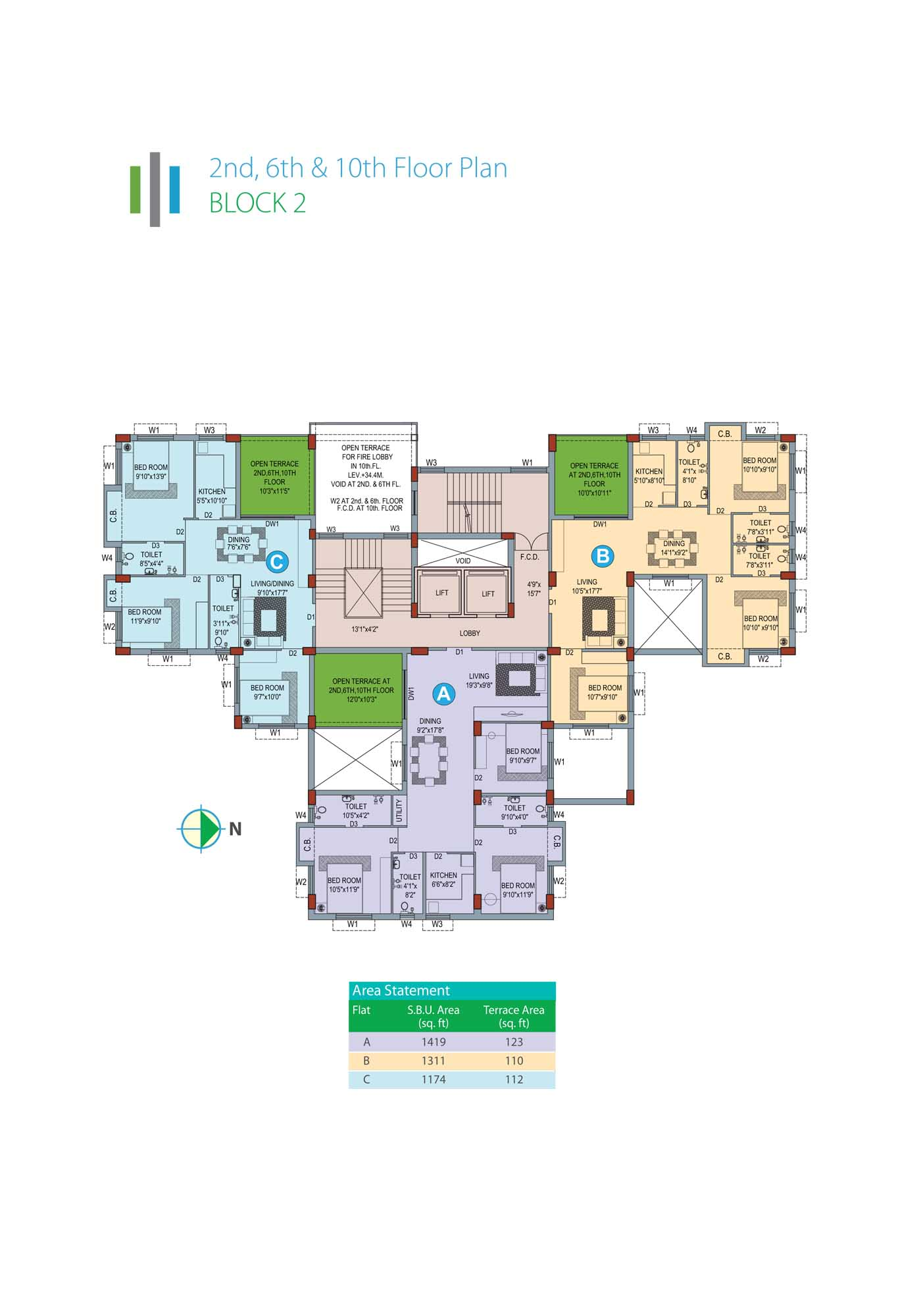 Eden Sky Terraces - Block 2 2nd, 6th & 10th Floor Plan