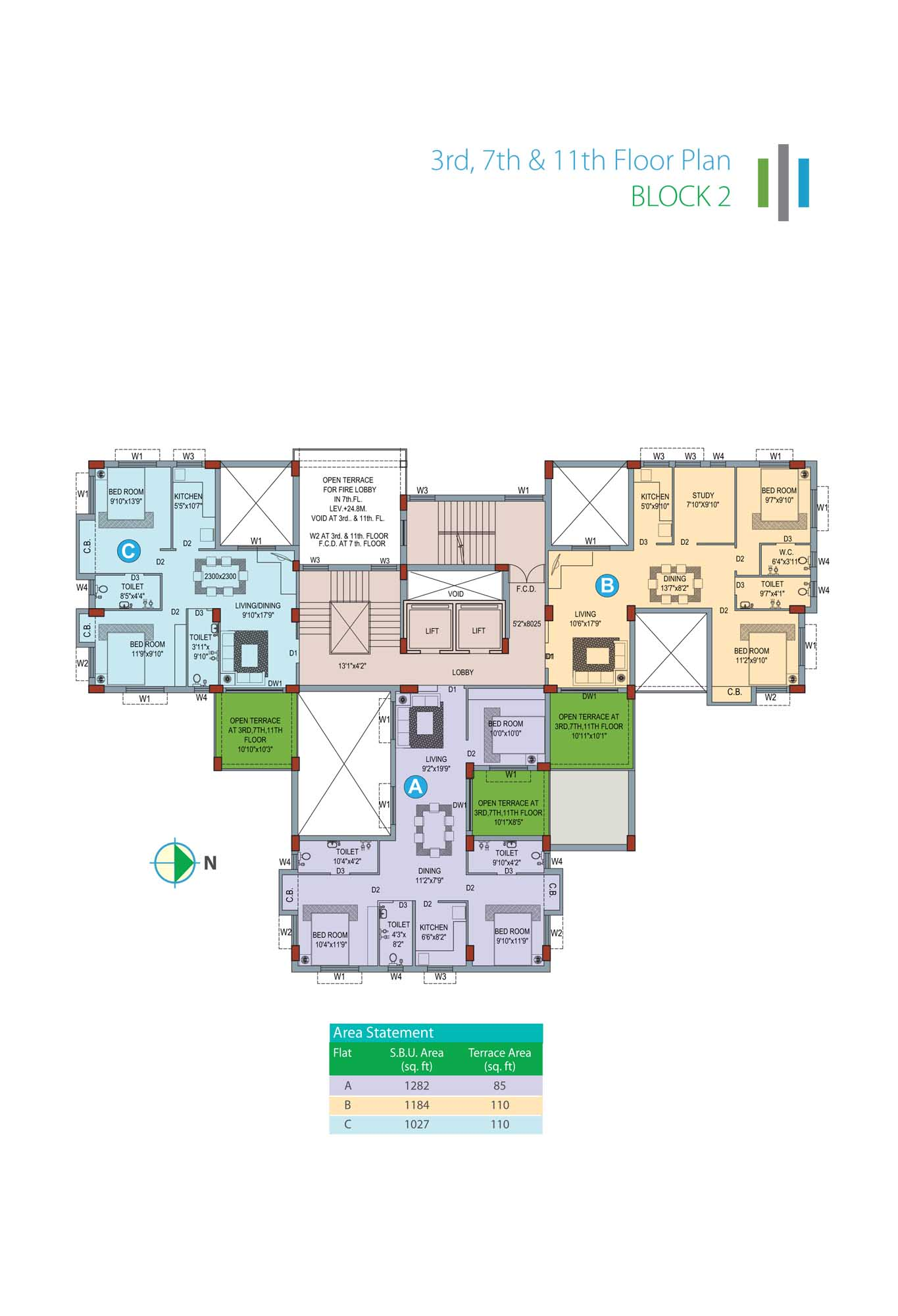 Eden Sky Terraces - Block 2 3rd,7th & 11th Floor Plan