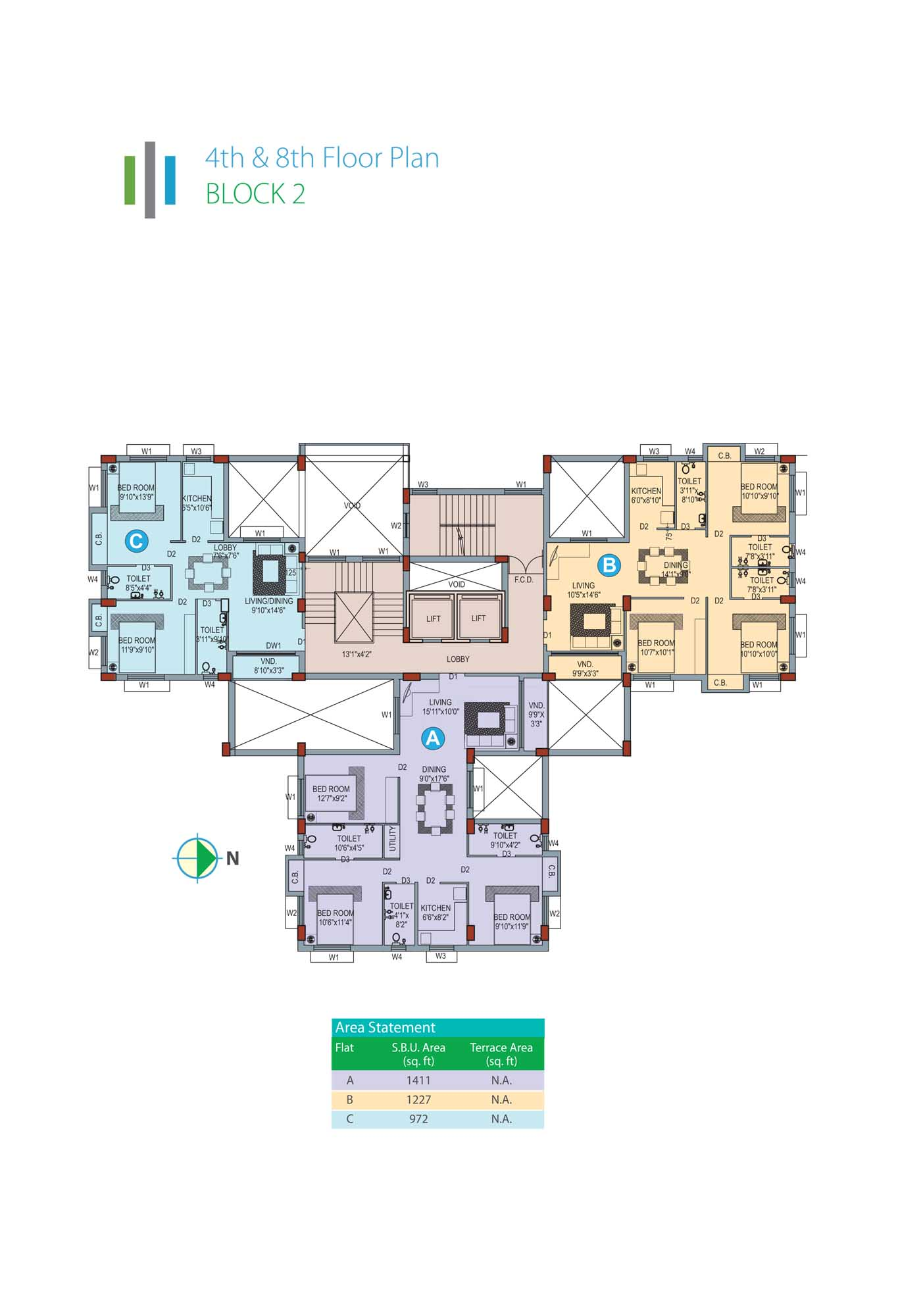 Eden Sky Terraces - Block 2 4th & 8th Floor Plan