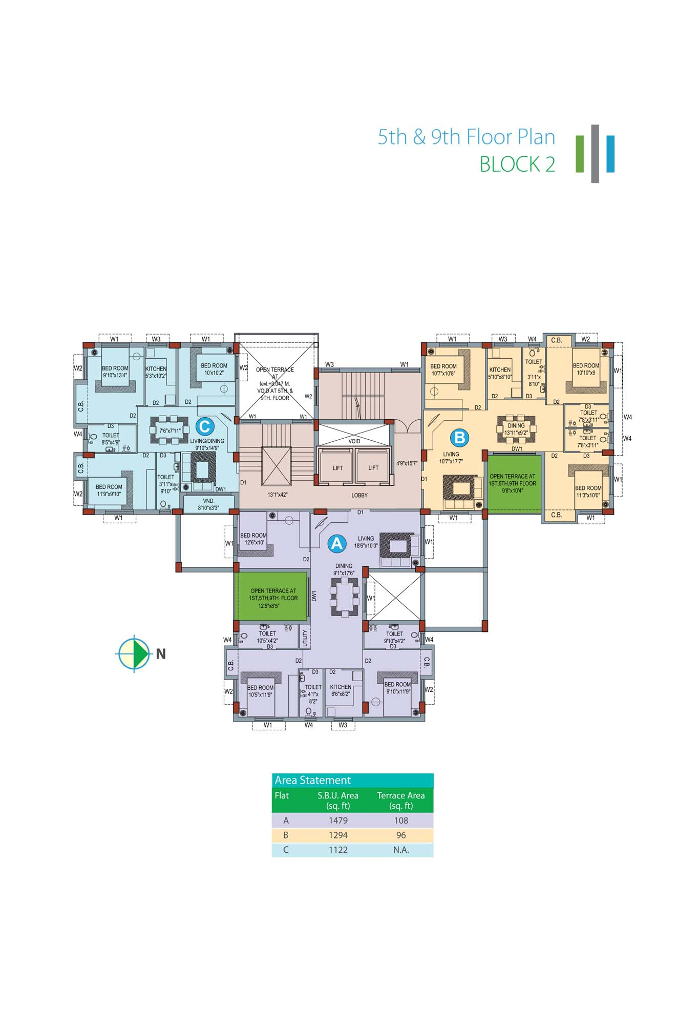 Eden Sky Terraces - Block 2 5th & 9th Floor Plan