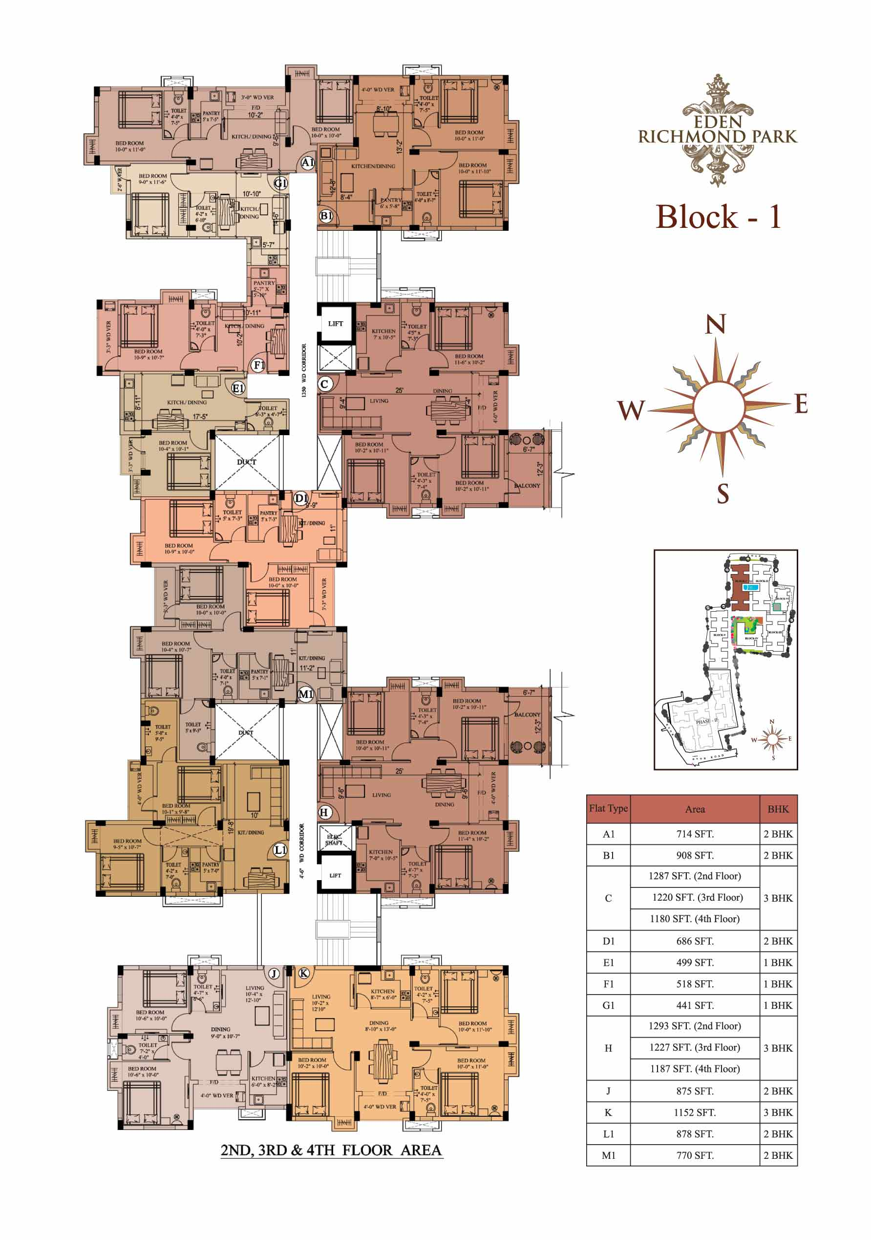 Eden Richmod Park Residential Project Apartments In Kolkata Electrical Wiring Diagram India As Well 2 Bedroom Richmond Block 1 2nd3rd 4th Floor Plan