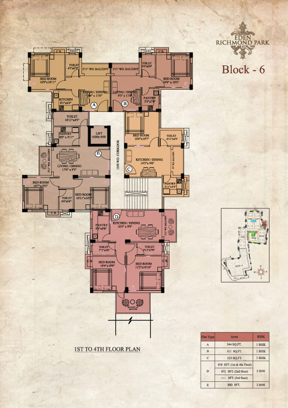 Eden Richmond Park - Block 6 1st to 4th Floor Plan