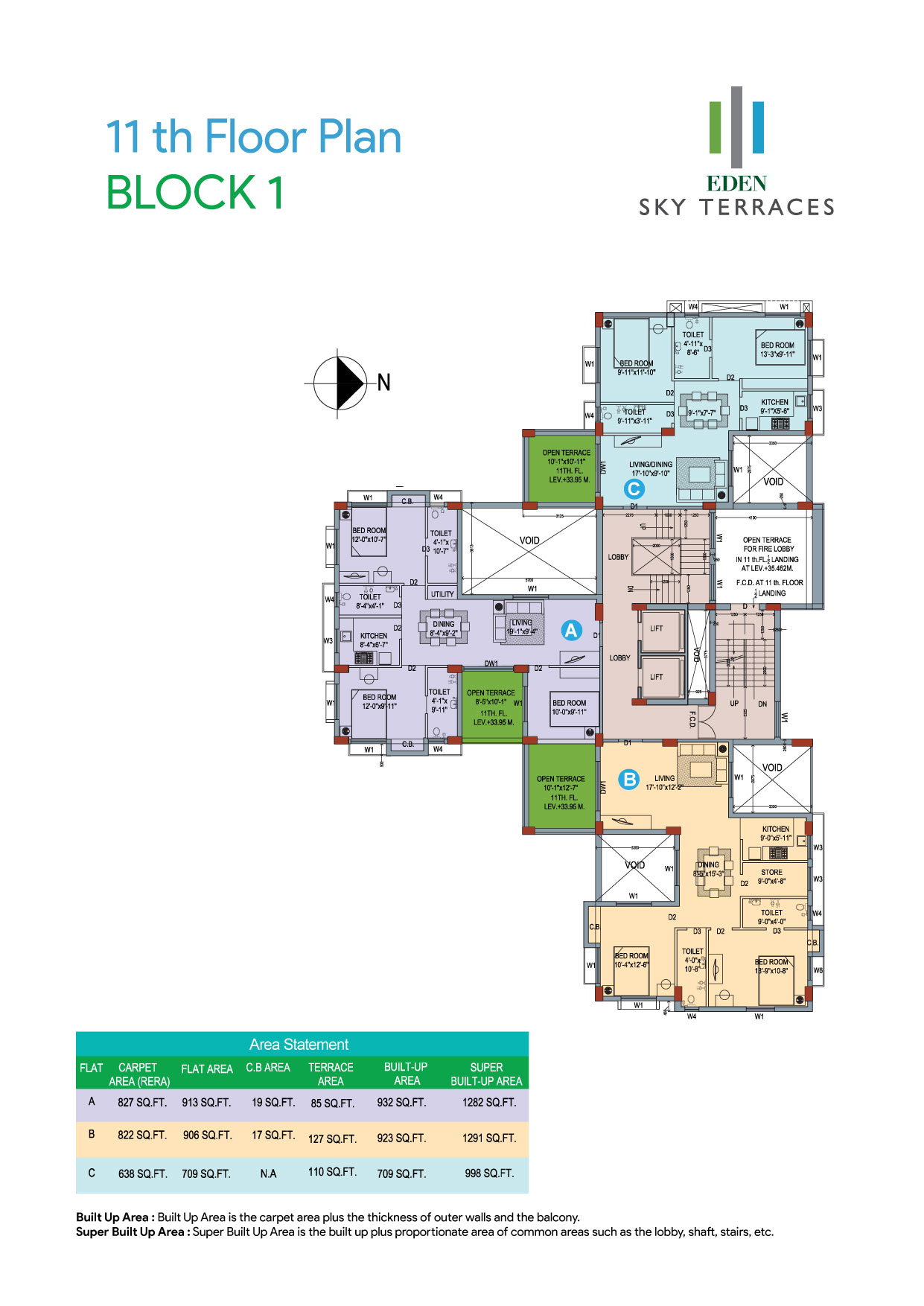 Eden Sky Terraces - Block 1, 11th Floor Plan