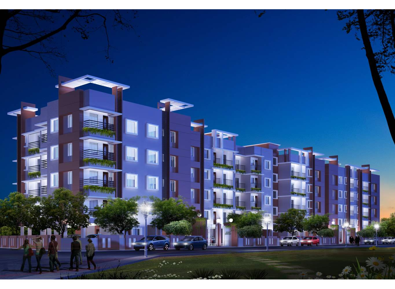 Eden Astor Park at Night- Flats in Kolkata for Sale