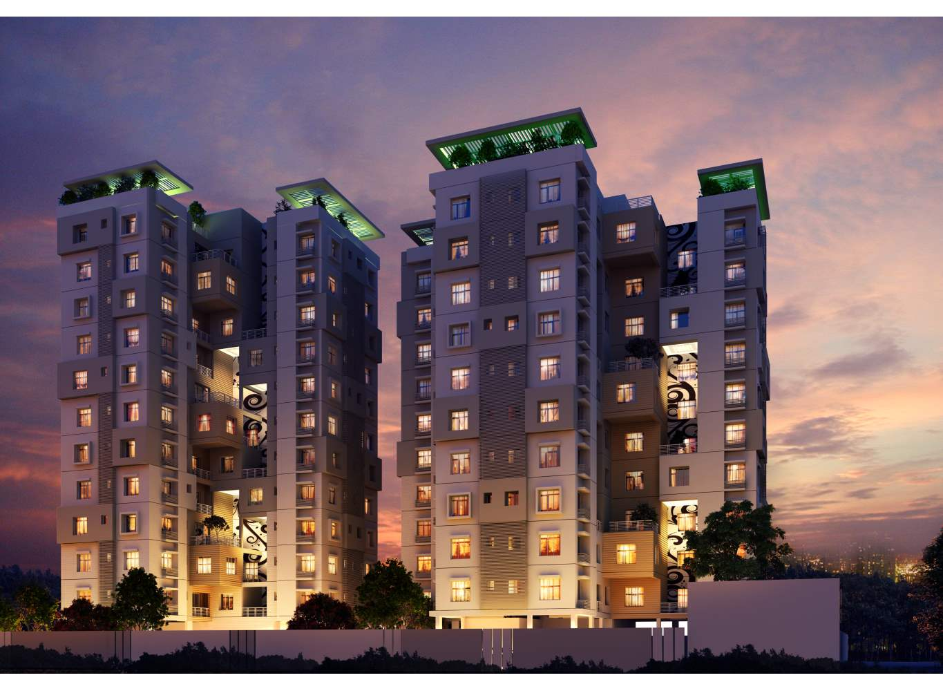 Eden Sky Terraces Night - Buy Flats in Kolkata